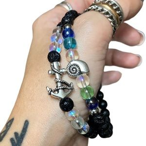 Bracelets set anchor & shell beach ocean bead boho